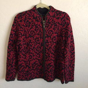 Nomadic Traders Red and Black Zippered Sweater L
